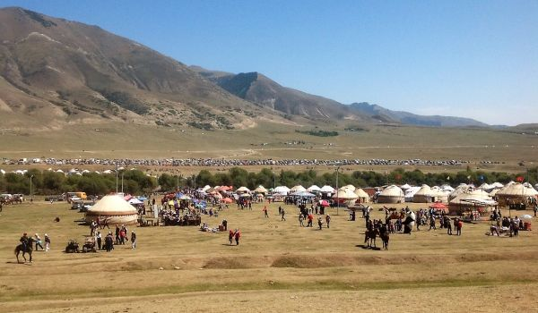 Archery, Falconry and exhibitions of traditional arts and crafts are held high up in the Kyrchyn Valley
