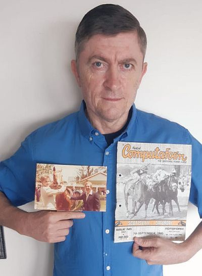 Darren de Wet with some old treasures from his racing collection.