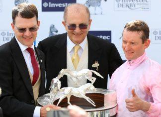 Aidan O'Brien and Seamie Heffernan with Investec Derby trophy.