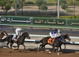 Racing in Saudi Arabia.