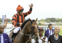 Corne Orffer salutes after his top ride on Kilindini. (Wayne Marks).