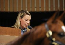 Gabby Gaudet on the Keeneland podium.